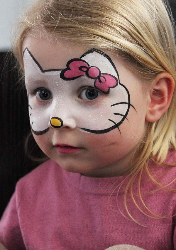 Hello Kitty Face Painting. Cool Face Painting Ideas For Kids, which transform the faces of little ones without requiring professional-quality painting skills.