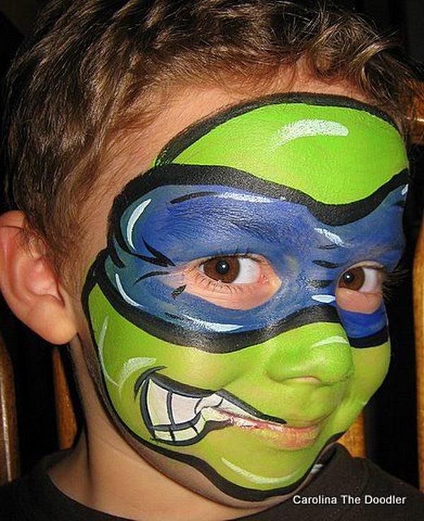 Turtle Hero. Cool Face Painting Ideas For Kids, which transform the faces of little ones without requiring professional-quality painting skills.