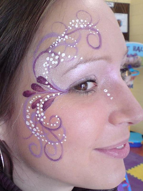 Purple Face Paint for Girl. Cool Face Painting Ideas For Kids, which transform the faces of little ones without requiring professional-quality painting skills.