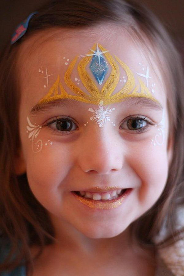 Elsa's Crown. Cool Face Painting Ideas For Kids, which transform the faces of little ones without requiring professional-quality painting skills.