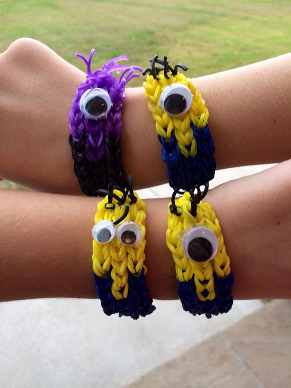 Minion Family Rainbow Loom Bracelets. Rainbow Loom is one of the top gifts for kids, and every kid seems to have at least one piece of rubber band jewelry.
