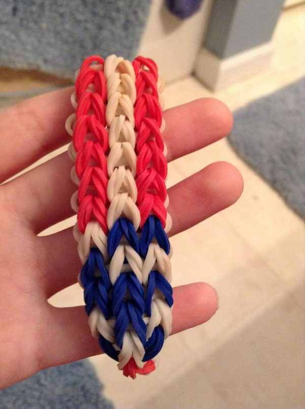 American Flag Rainbow Loom Bracelet. Rainbow Loom is one of the top gifts for kids, and every kid seems to have at least one piece of rubber band jewelry.