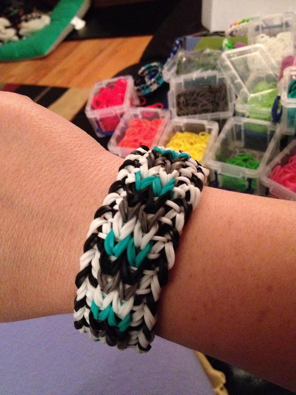 Sailor Pinstripe Rainbow Loom Bracelet. Rainbow Loom is one of the top gifts for kids, and every kid seems to have at least one piece of rubber band jewelry.