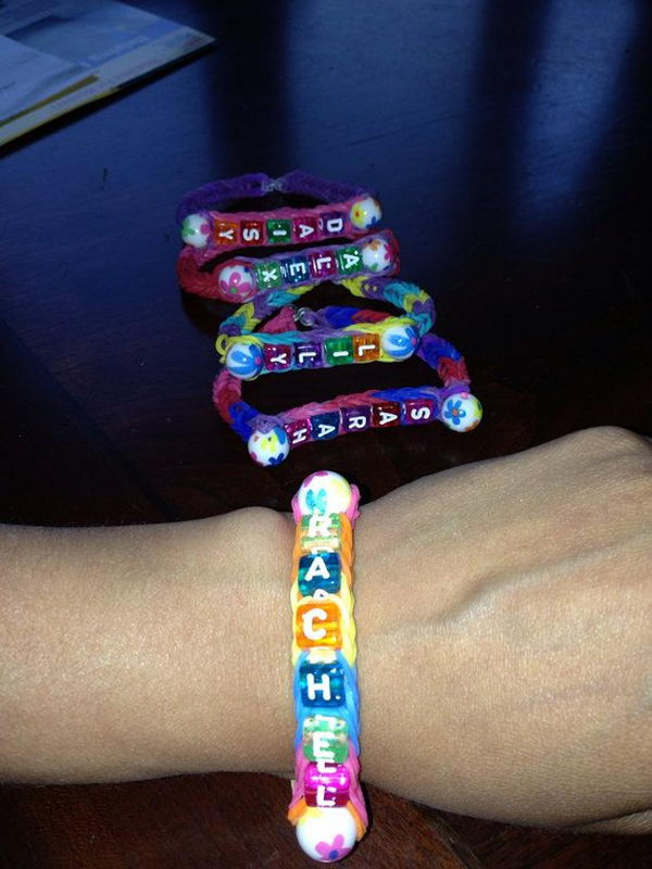 Rainbow Loom Name And Bead Bracelet. Rainbow Loom is a plastic loom used to weave colorful rubber bands into bracelets and charms. It is one of the top gifts for kids.