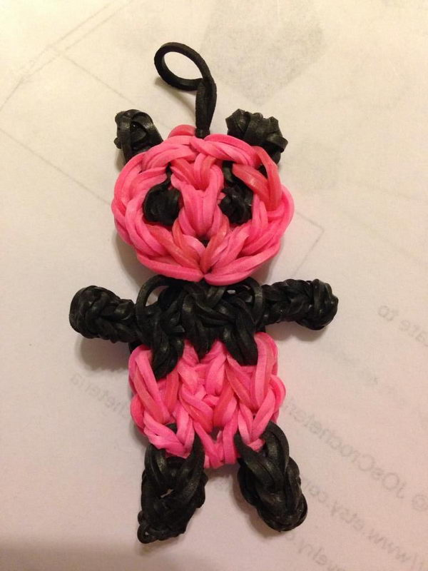 Pink and Black Panda Charm. Rainbow Loom is one of the hottest craft activities for kids.