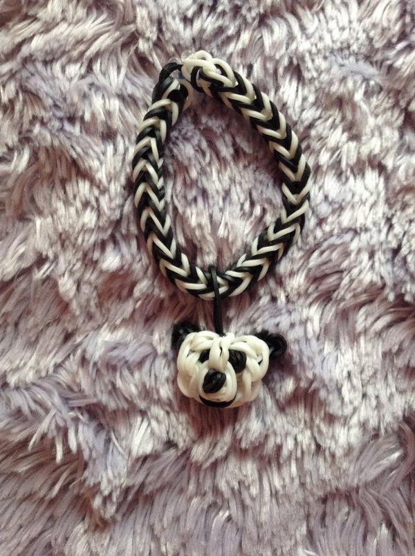 Panda Bear Charm Bracelet. Rainbow Loom is one of the hottest craft activities for kids.