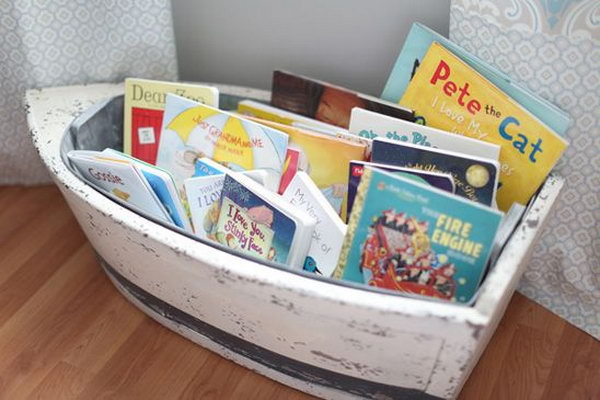 Boat bookcase for nautical boy nursery.