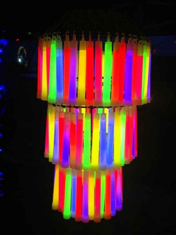 Glow Stick Chandelier. Rainbow colors are perfect for a festive event, from kids or adult birthdays to anniversaries or graduation.