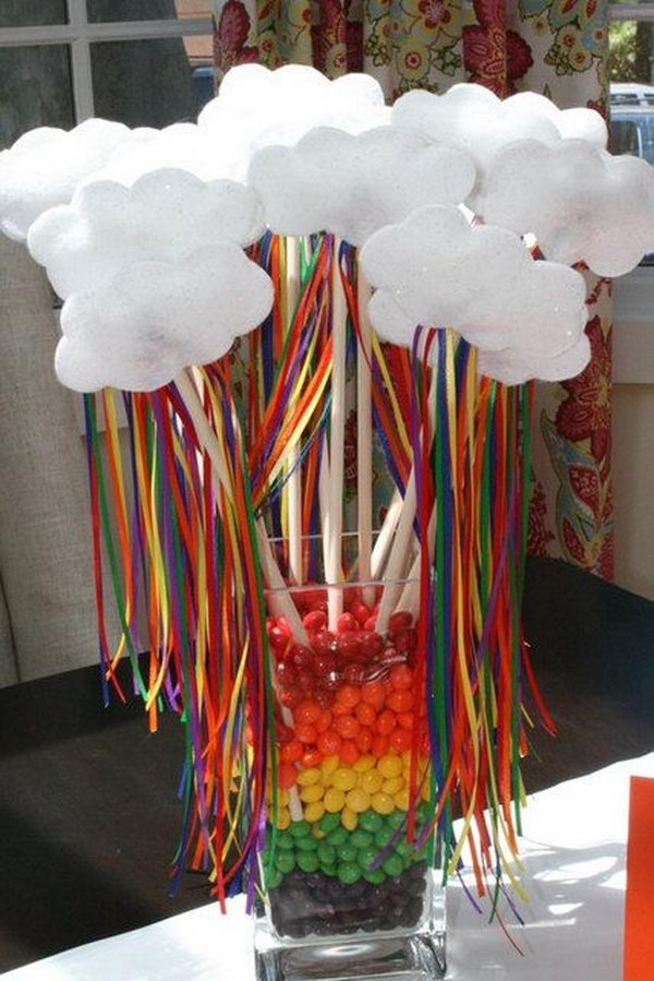Candy Decoration. Rainbow colors are perfect for a festive event, from kids or adult birthdays to anniversaries or graduation.