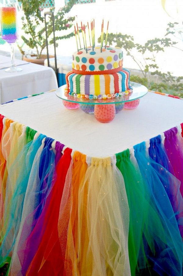 Rainbow Table Decor. Rainbow colors are perfect for a festive event, from kids or adult birthdays to anniversaries or graduation.
