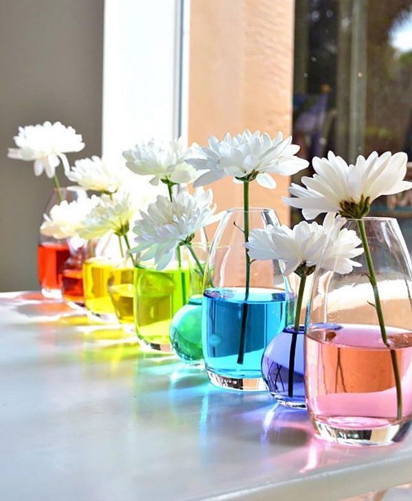 Rainbow Water Centerpiece. Rainbow colors are perfect for a festive event, from kids or adult birthdays to anniversaries or graduation.