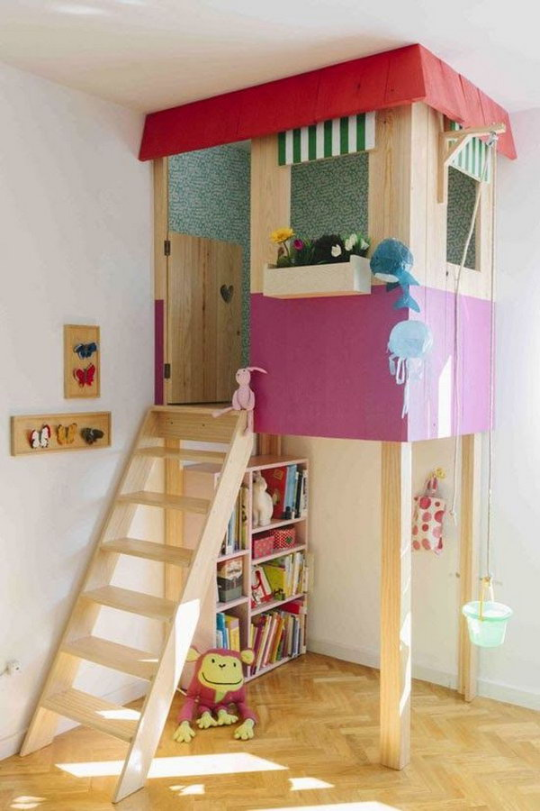 Creative indoor playhouse. Great idea to bring the fun indoors.