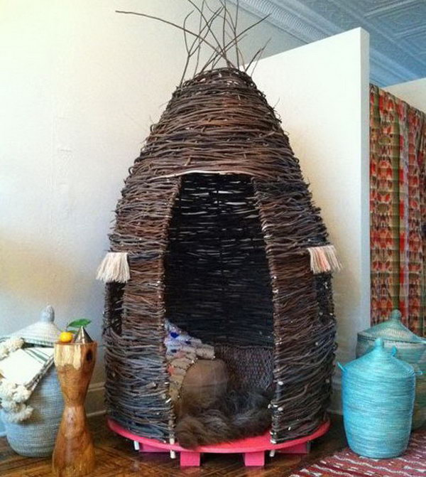 Thicket from willow branches. Great idea to bring the fun indoors.