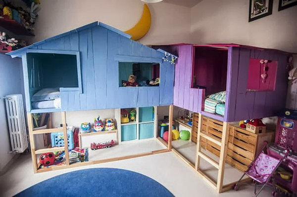 Tree house playland from ikea kura beds. Great idea to bring the fun indoors.