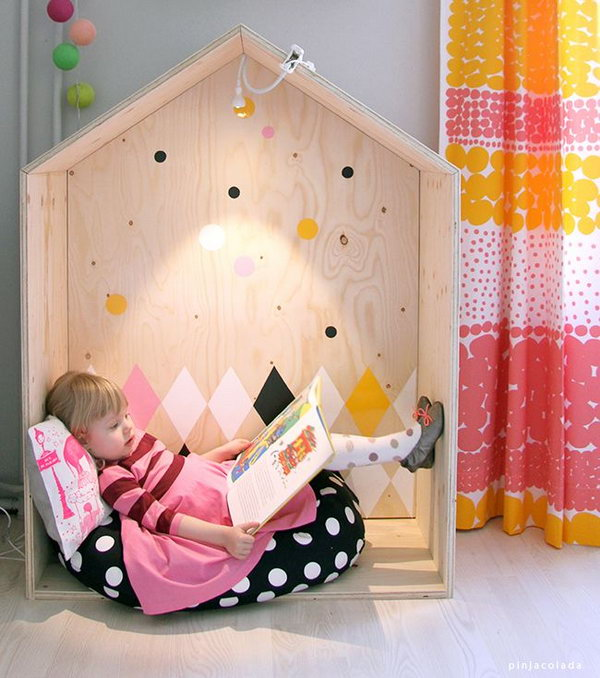 House reading nook. Great idea to bring the fun indoors.