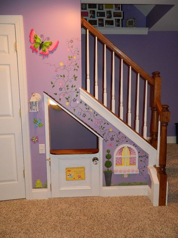 Playhouses under the stairs. Great idea to bring the fun indoors.