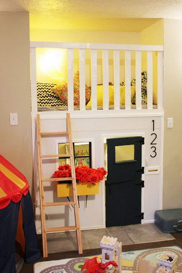 Playhouse built in a fireplace nook. Great idea to bring the fun indoors.