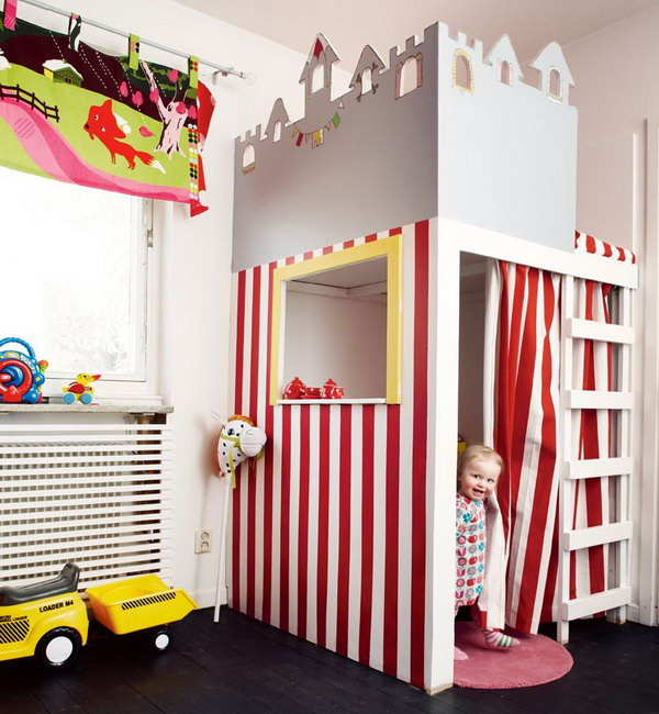 Circus themed playhouse. Great idea to bring the fun indoors.
