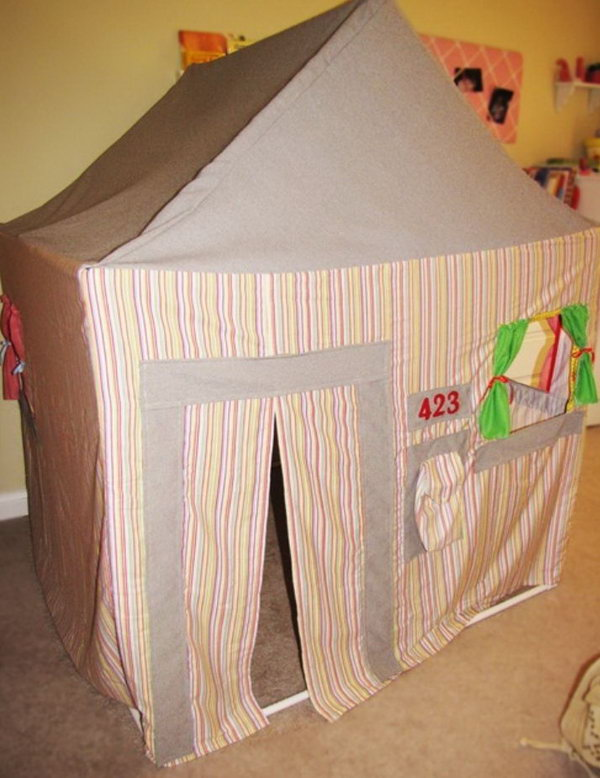 PVC pipe playhouse. Great idea to bring the fun indoors.