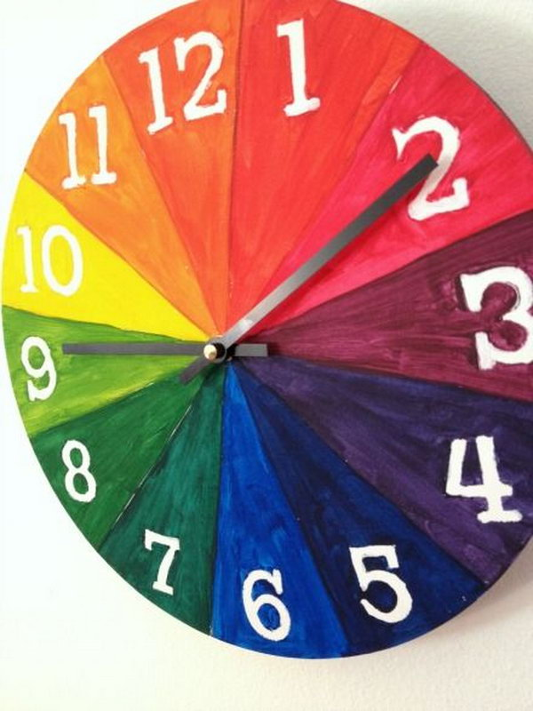 Here's a color wheel for kids project that gives you an awesome finished functional product- a clock.