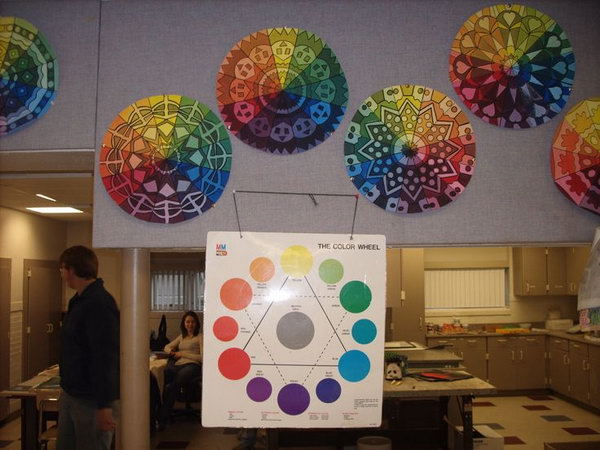 What a cool art project based on the color wheel and radial designs. The students enjoyed the project and it created plenty of opportunity to learn the proper technique to mix paint colors.