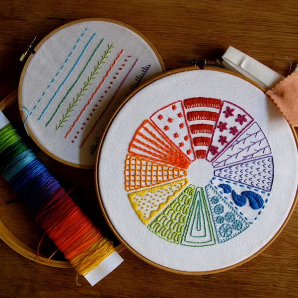 Learn embroidery through this stitched color wheel.