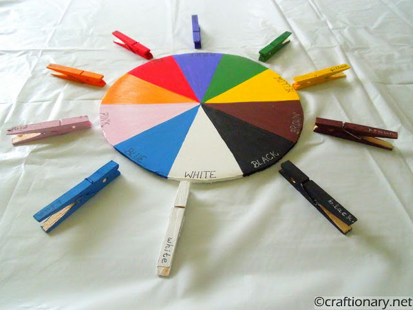 Write the upper case colors on the Color Wheel. And the lower case ones on the clothespin. This dual learning at the same time is helpful. This color wheel will be great to introduce your kid to spelling each color.