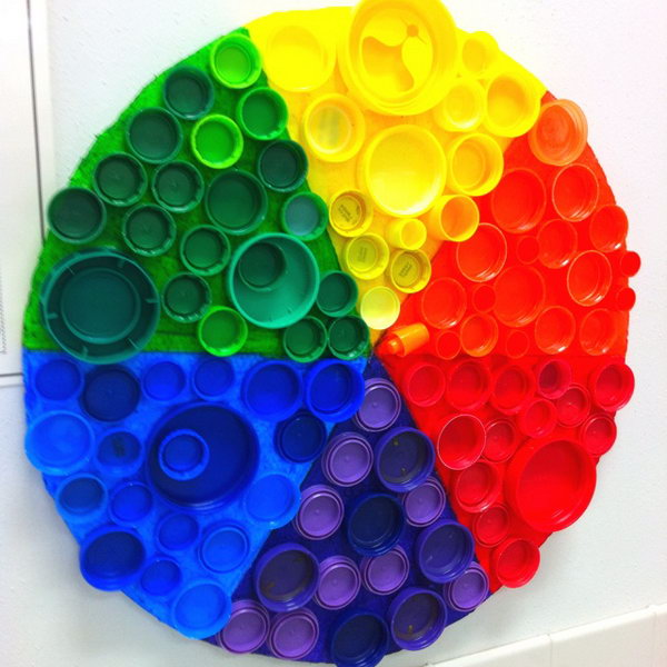 Recycled plastic bottle cap color wheel,
