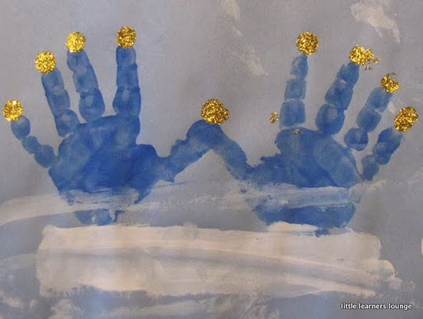 Handprints are a great way to make your own unique menorahs.