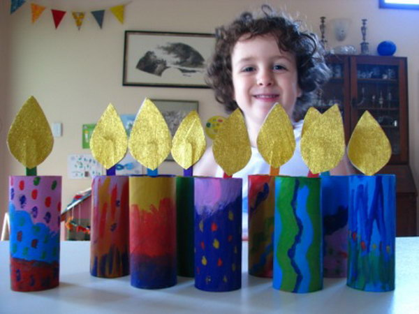 Cardboard tube chanukiah - a safe and easy menorah project and fine motor activity.