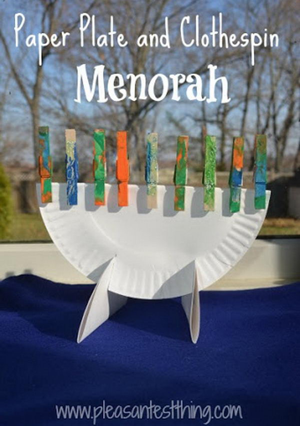 Make paper plate and clothespin menorahs and decorate clothespin candles with paint and glitter.