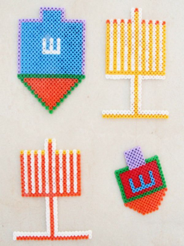Bead Ornaments For Hanukkah Made From Hama Beads or Perler Beads.