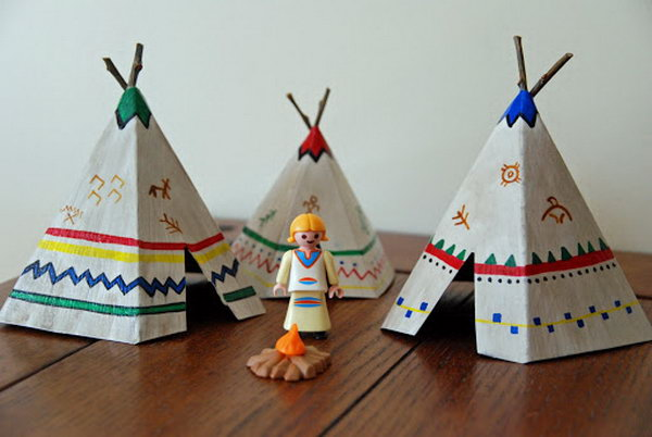 How to Make Mini Teepees- a great hands-on lesson for studying Indians or Thanksgiving.