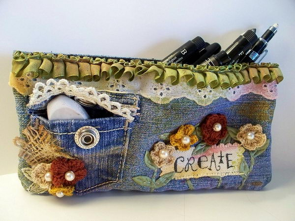 Upcycled Denim Pencil Case. There's nothing like a cool pencil case full of cool pencils, erasers and accessories to excite your kids' imagination and ignite their creative and linguistic passions. Show how much you care about them.