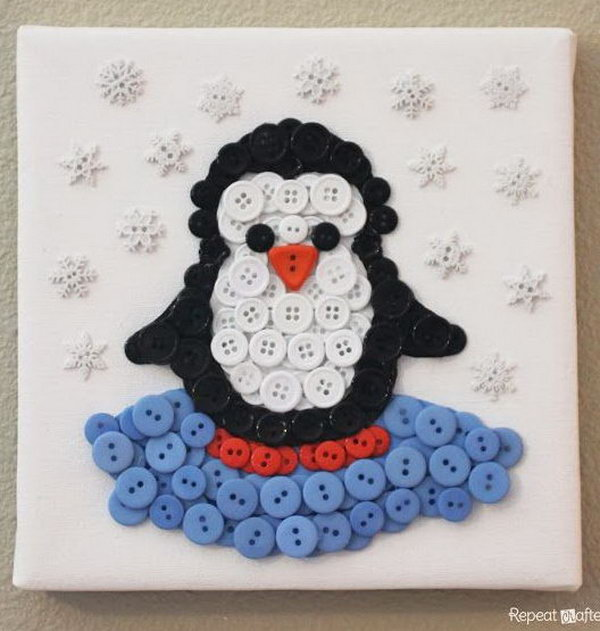Penguin Button Art,