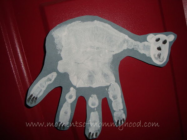 This hand print polar bear project is a great way to keep track of how small their hands were.