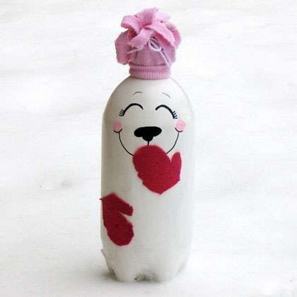 The DIY soda bottle polar bear project is a great way to re-purpose old materials that no longer have any use.