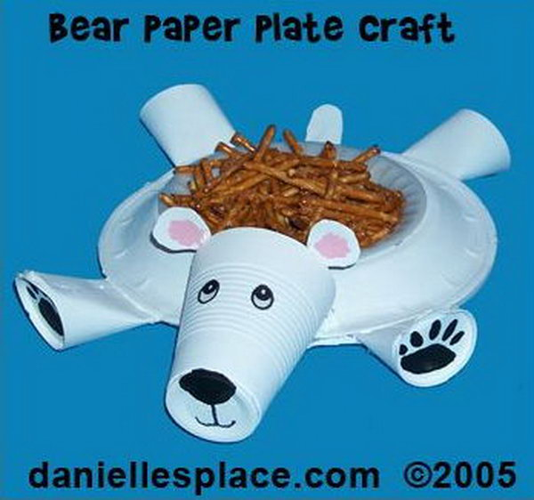 Polar bear dessert dish craft for kids made with paper plate and paper cups.