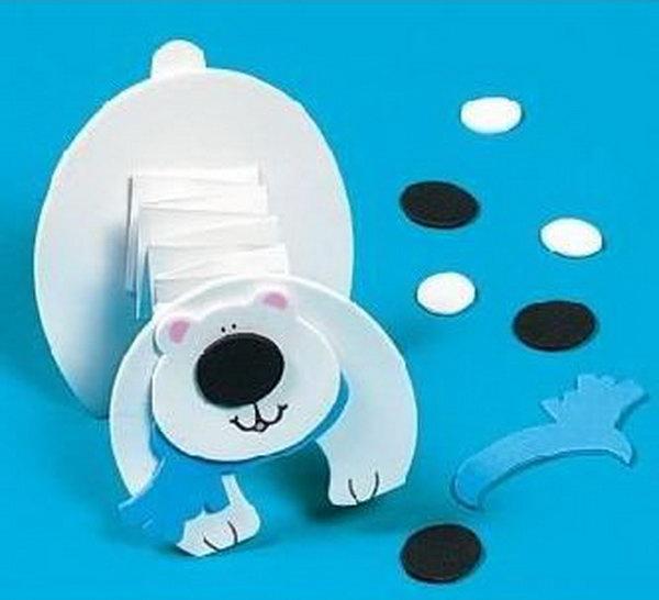 Accordion fold polar bear craft.
