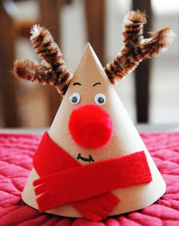 This Christmas rudolph reindeer cone makes a great nightstand companion and adds a cute decoration to your dinner table.