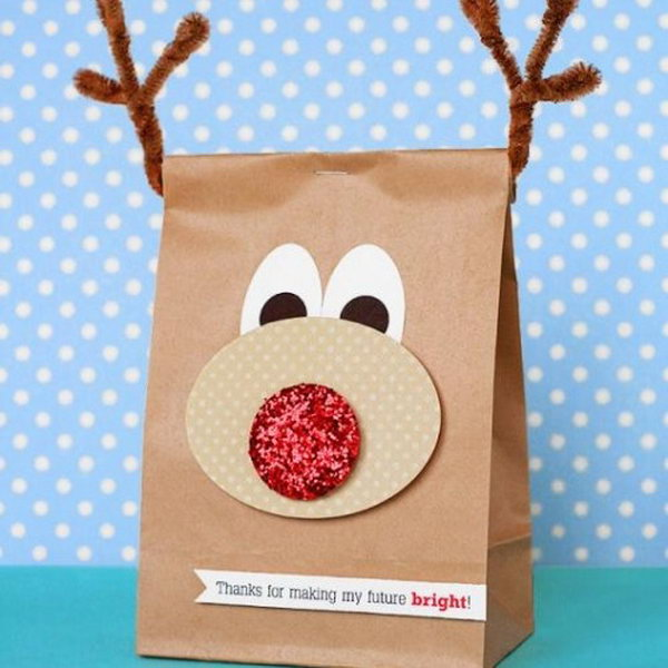 You can put candy or gifts in this reindeer bag. Kids would sure like the bag just as much as the stuff in them.