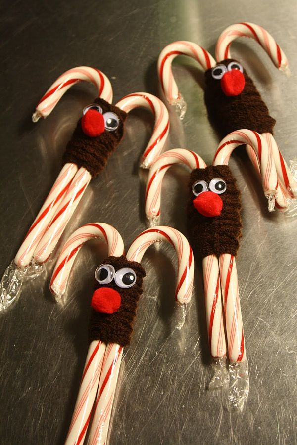 Candy cane reindeer for Christmas.