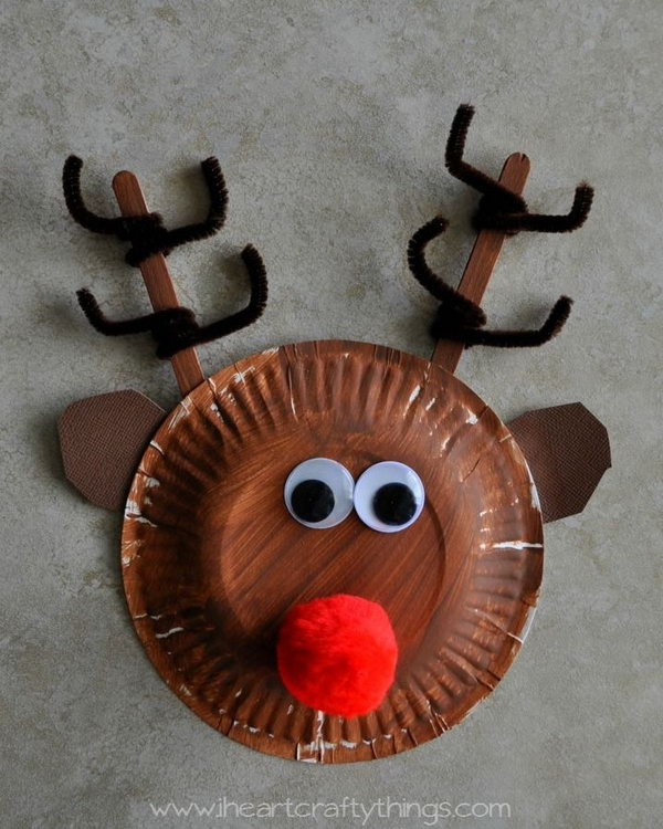 Paper plate rudolph reindeer