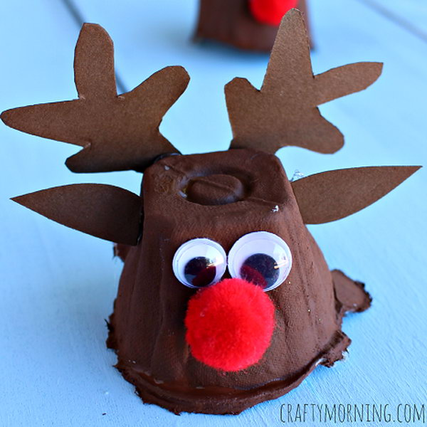 Make some egg carton reindeers for a christmas craft. This is the perfect art project for kids to use recycled items.