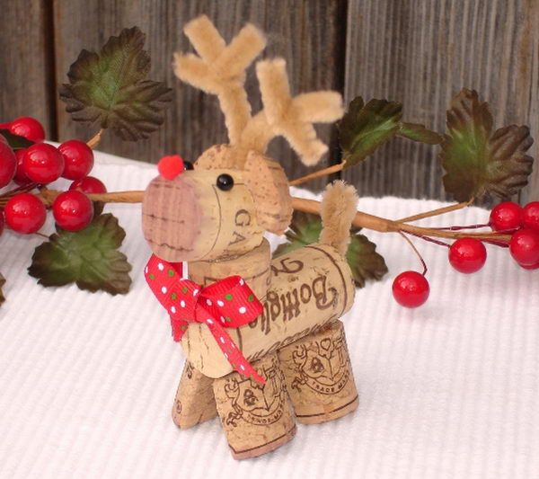 Wine cork art reindeer for Christmas.