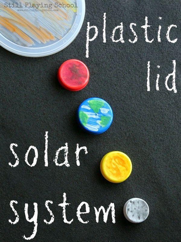 This simple solar system of recycled plastic lid planets is perfect for space science unit.