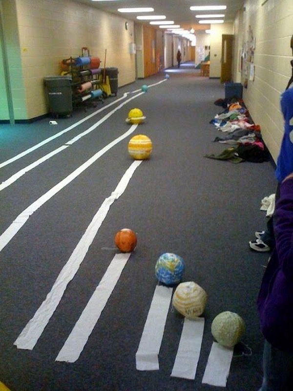 A fun activity for creating a scaled model of the Solar System using toilet paper.