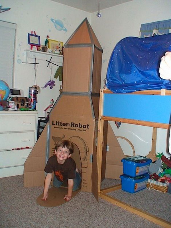 What an awesome DIY playhouse idea for this carboard rocket ship.