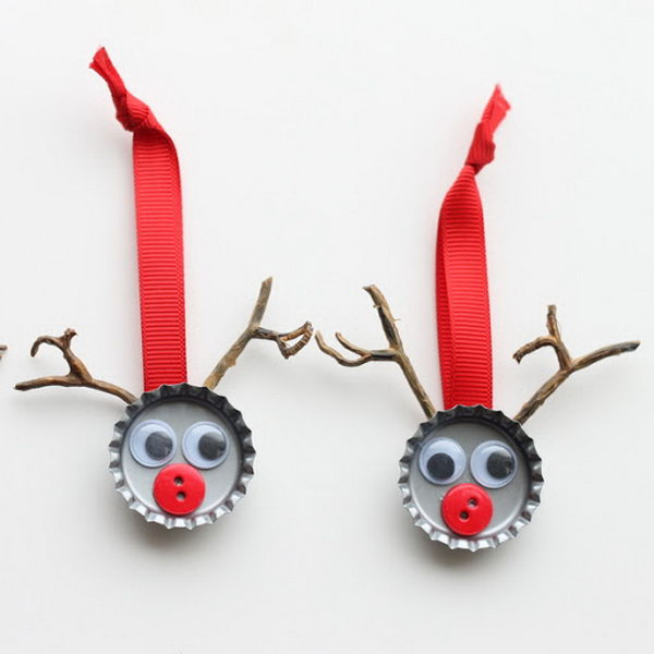 Create bottle cap reindeer crafts for kids. You can hang them on your tree or give them as gifts.