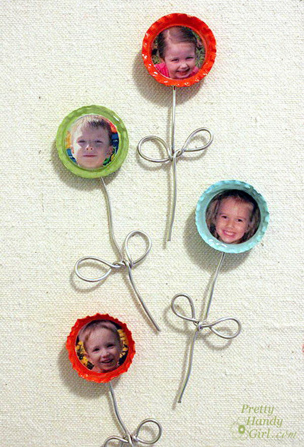 Make these bottle cap flower magnets with smiling faces of the ones you love. What a great gift idea that has a personal touch.